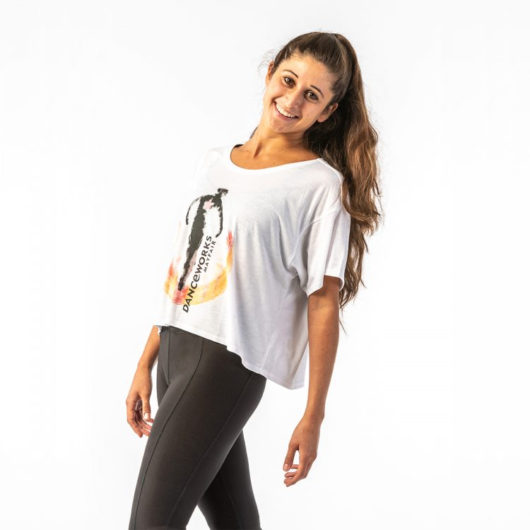 Danceworks White Slouchy Crop Tee DW008WBO at Danceworks shop in London