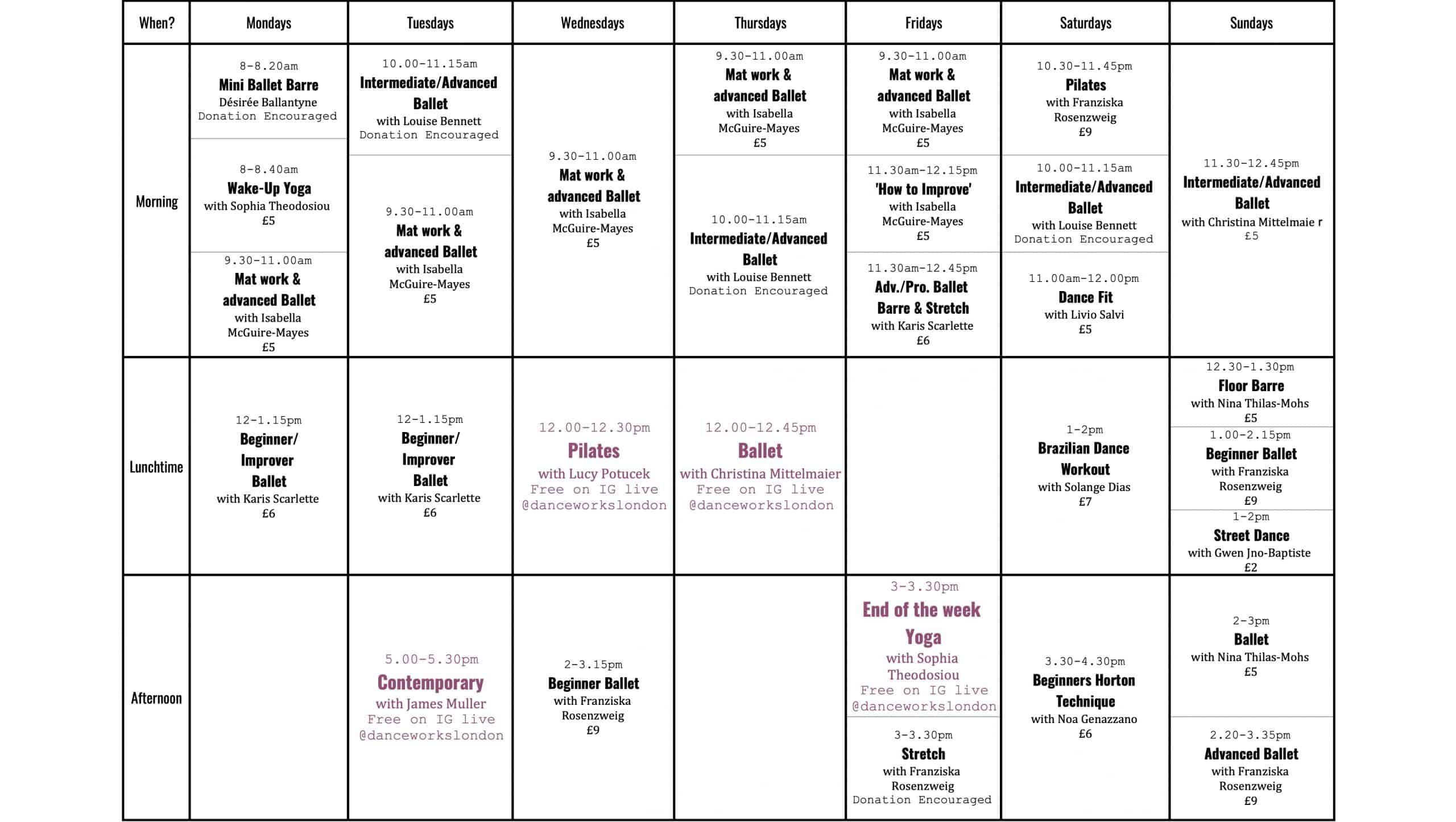 Danceworks Day Time Online classes Schedule