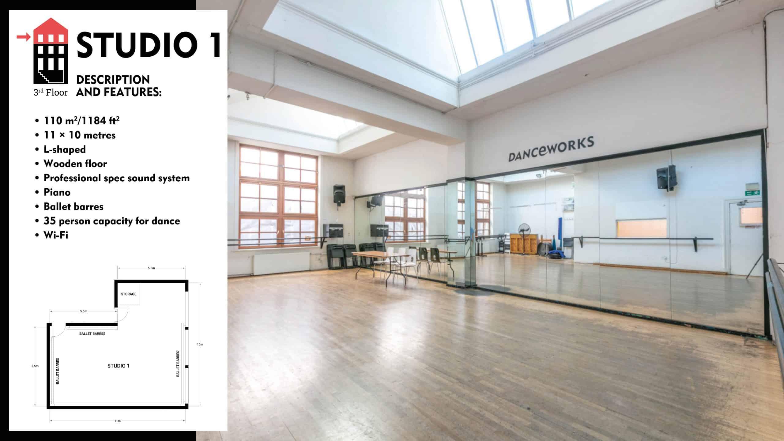 #Danceworks Studios 1 to Hire in London