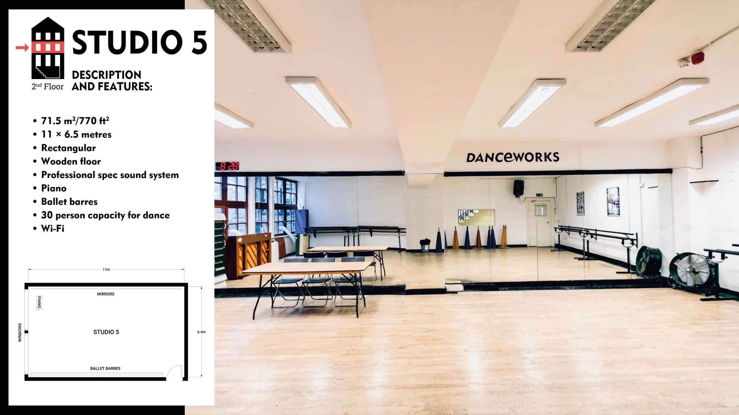 #Danceworks Studios 5 to Hire in London