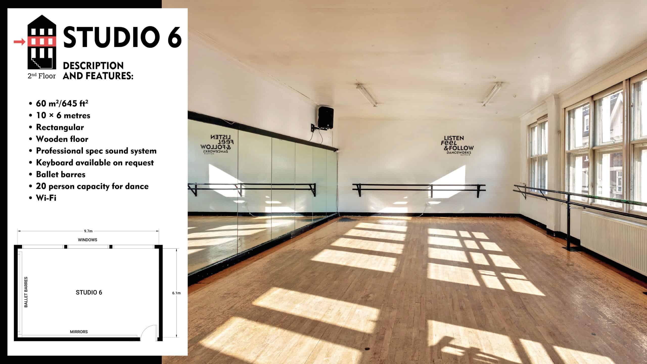 #Danceworks Studios 6 to Hire in London